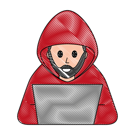 hacker with laptop character vector illustration design Фото со стока - 100202225