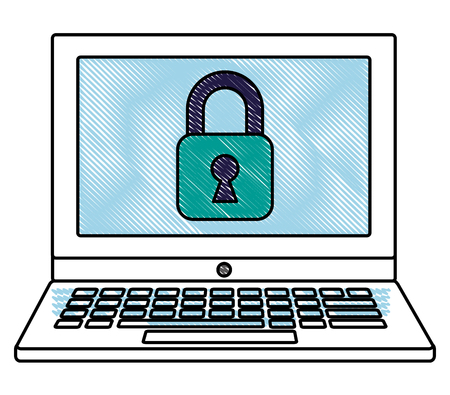 Laptop computer with padlock icon