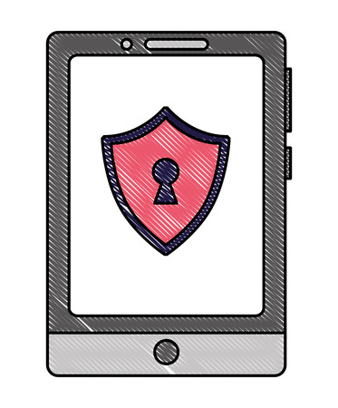 Mobile phone with shield virus icon