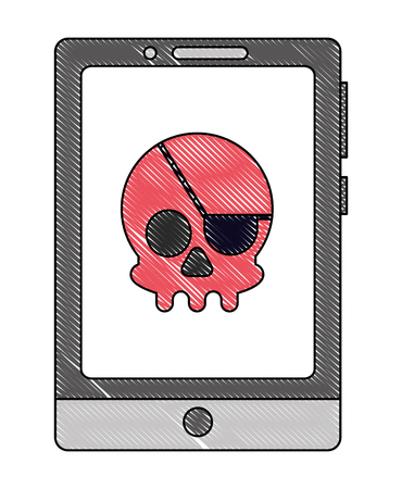 Mobile phone with pirate skull virus icon Vector Illustration
