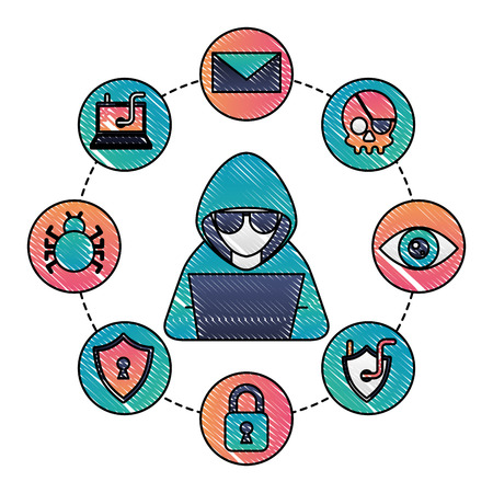Computer virus set icons