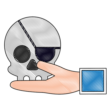 Hand lifting pirate skull virus icon Illustration