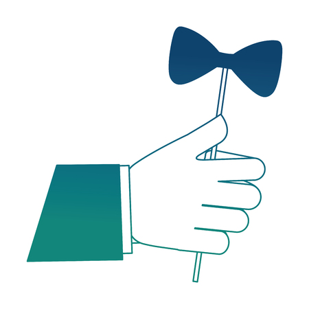 Hand with bow tie in stick icon Illustration