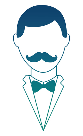Faceless Man with mustache icon