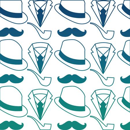 hat with mustache and pipe pattern background vector illustration design Illusztráció