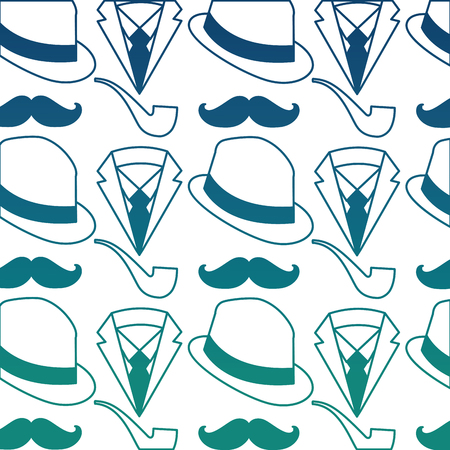 hat with mustache and pipe pattern background vector illustration design Illustration
