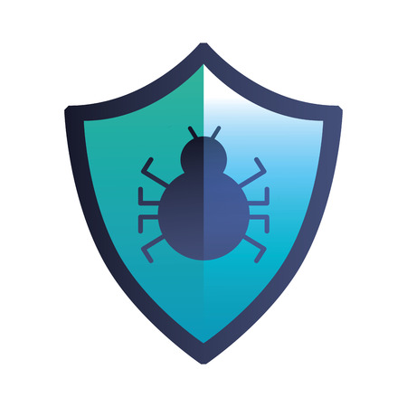 shield guard with bug virus vector illustration design Illustration