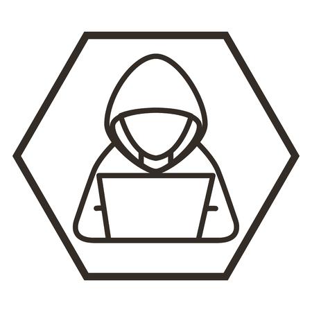 hacker with laptop character vector illustration design Stok Fotoğraf - 100202202