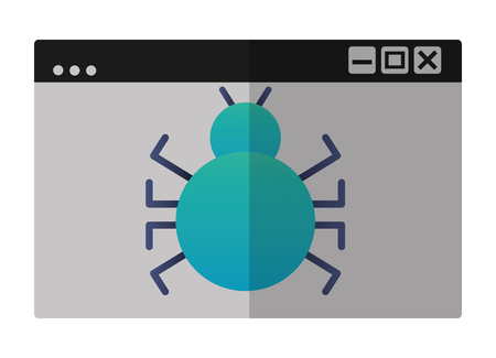 template windows with bug virus attack icon vector illustration design