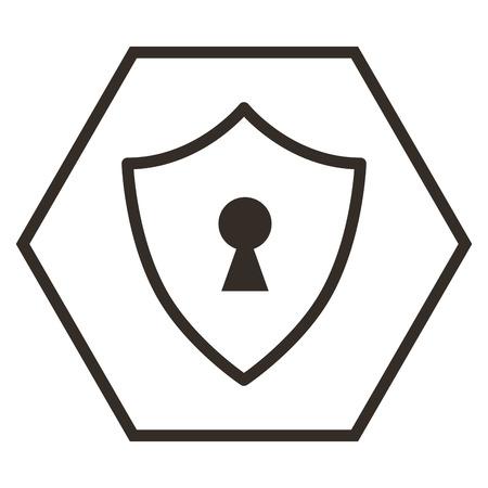 Shield guard with padlock hole illustration design