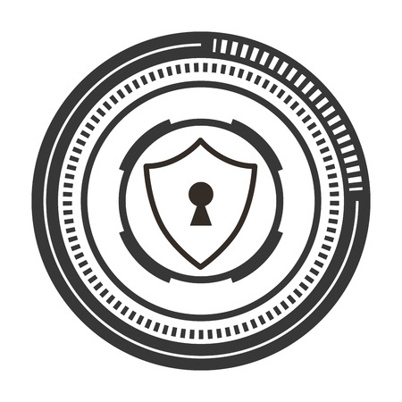 Shield guard with padlock hole vector illustration design 일러스트