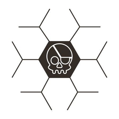 Pirate skull virus attack illustration design