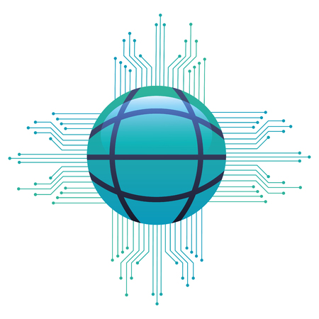 Sphere planet with circuit electric vector illustration design