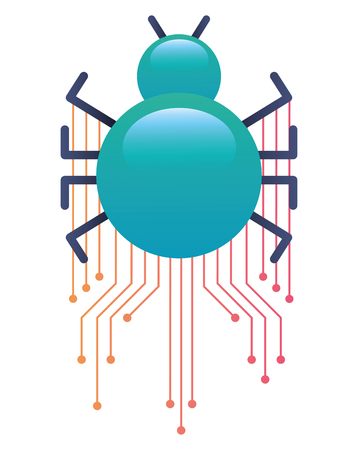 Bug virus attack with circuit electric vector illustration design