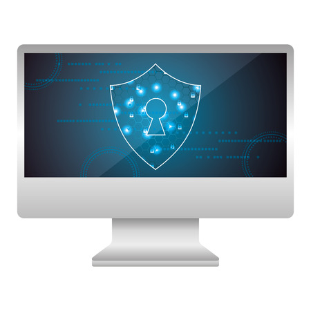 monitor computer with shield guard vector illustration design