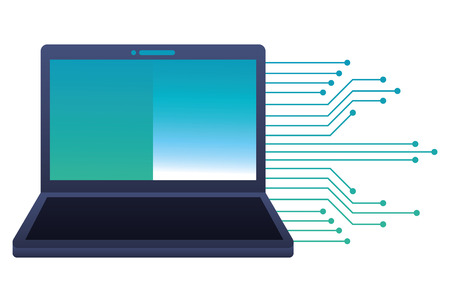 Laptop computer with circuit electric vector illustration design
