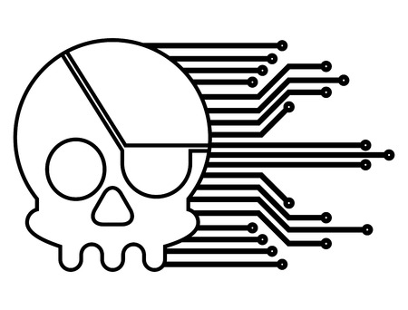 Pirate skull virus attack with circuit electric vector illustration design