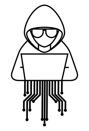 Hacker with laptop character and circuit electric vector illustration design
