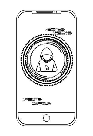Smartphone with hacker character vector illustration design Illustration