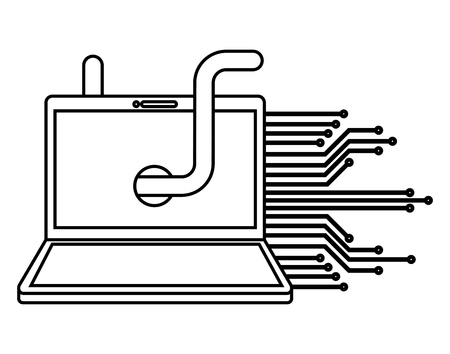 Laptop computer with worm virus and circuit electric vector illustration design  イラスト・ベクター素材