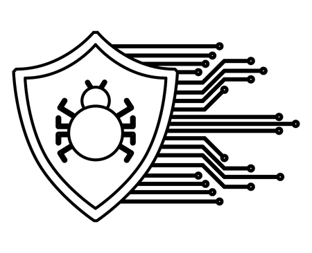 Shield guard with bug virus and circuit electric vector illustration design