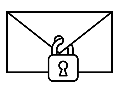 Envelope mail with padlock vector illustration design Illustration