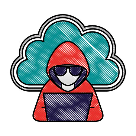 Cloud storage and hacker laptop hacking technology vector illustration drawing