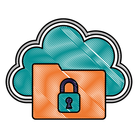 Cloud storage folder files data padlock cyber security vector illustration drawing