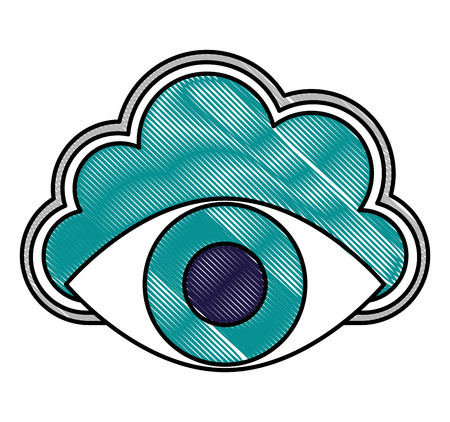 cloud storage cyber security surveillance eye network vector illustration drawing Illustration