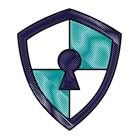 cyber security shield protection data keyhole access vector illustration drawing