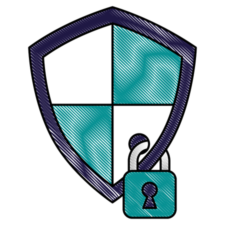 Shield protection holding padlock cyber secuirty vector illustration drawing