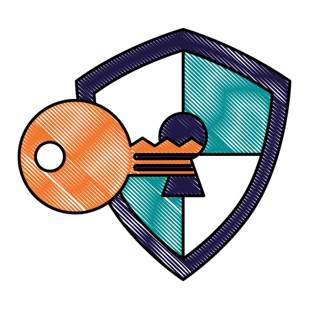 shield protection keyhole defense code vector illustration drawing