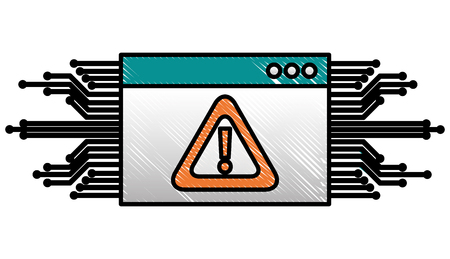 cyber security website warning attack circuit digital vector illustration drawing