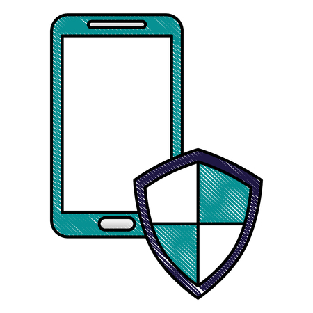 smartphone with shield protection data cyber security vector illustration drawing Illustration