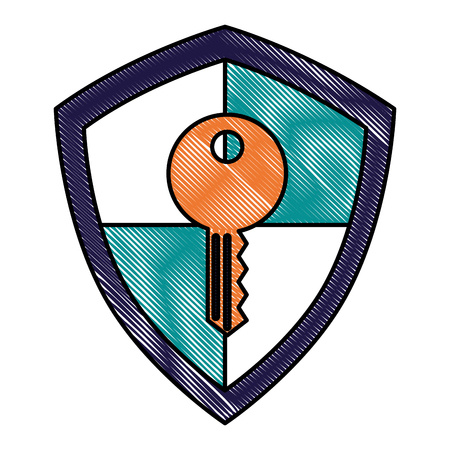 shield protection key information system safety vector illustration drawing