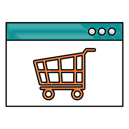 website internet shopping cart store online vector illustration drawing