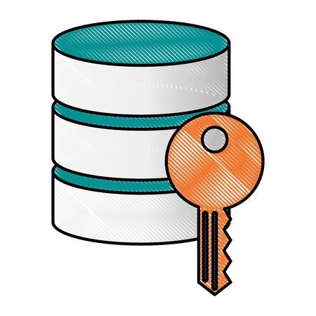 data server center information key security vector illustration drawing