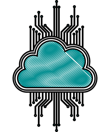 cloud storage cyber security circuit digital vector illustration drawing