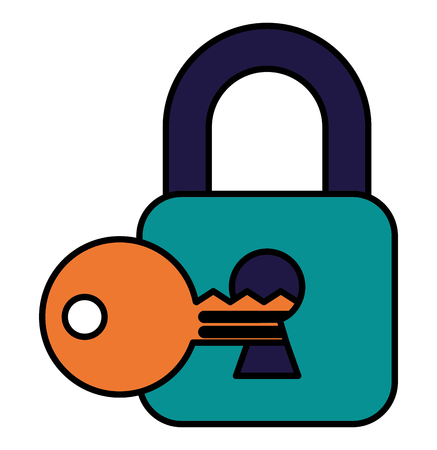 cyber security padlock and key on keyhole vector illustration Archivio Fotografico - 100189544