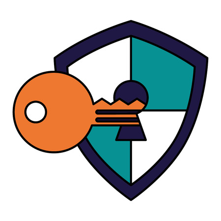 shield protection keyhole defense code vector illustration Standard-Bild - 100186305