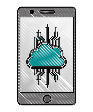 smartphone cloud computing storage data circuit vector illustration drawing Illustration