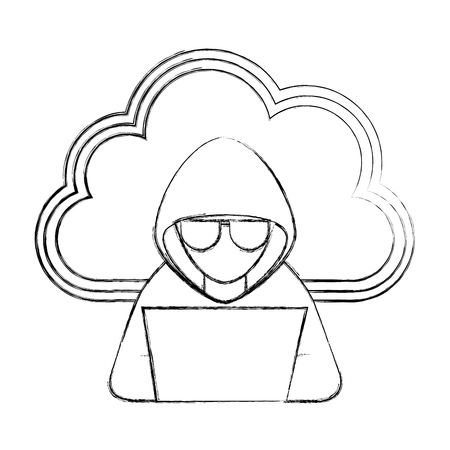 cloud storage and hacker laptop hacking technology vector illustration