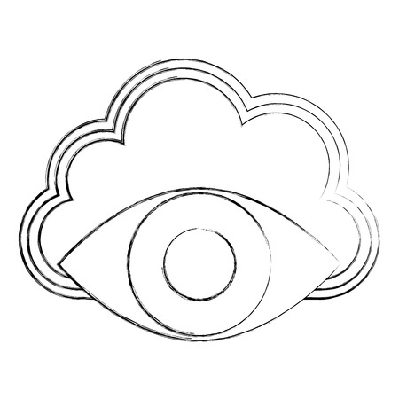 cloud storage cyber security surveillance eye network vector illustration