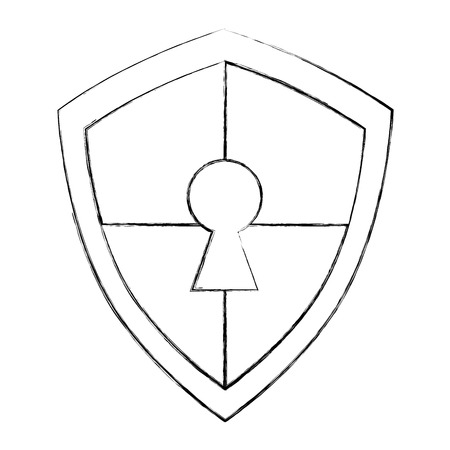 cyber security shield protection data keyhole access vector illustration