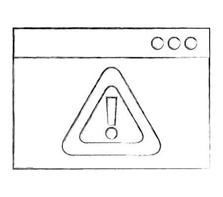 cyber security website warning attack sign vector illustration Illustration