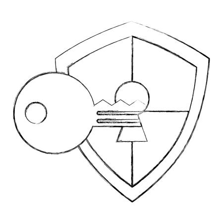 shield protection keyhole defense code vector illustration Archivio Fotografico - 100186166