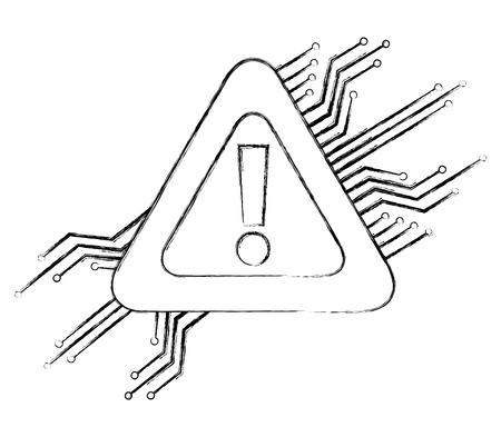 warning alert problem error circuit technology vector illustration