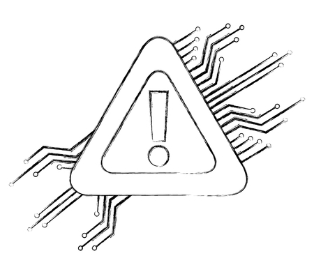 warning alert problem error circuit technology vector illustration