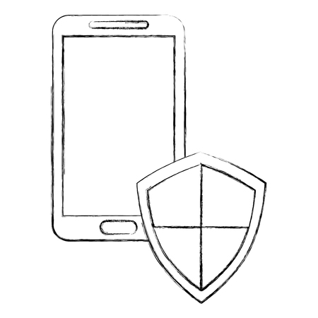 smartphone with shield protection data cyber security vector illustration