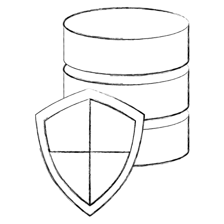 data center technology shield protection hosting netwotk secure vector illustration